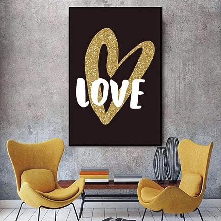 Djkaa Tableaux Scandinave Toile Peinture Coeur Lettre Amour