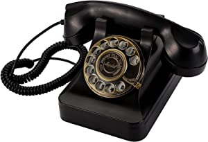 Yopay Classic Rotary Landline Phone, Vintage Home Telephones with Mechanical Ringer and Speaker Function for Home, Office, Hotel, Bar, Retro Black