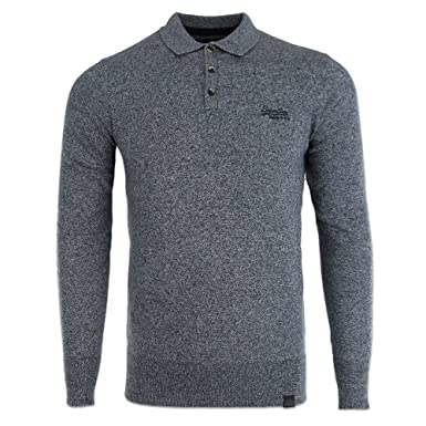 583a003413e1 Superdry Mens Orange Label Knitted Polo Top Jumper Oyster Grey Grit  (X-Large): Amazon.co.uk: Clothing