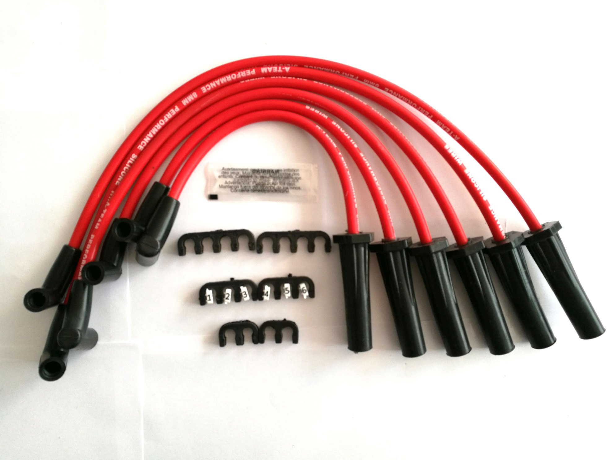 A-Team Performance 8.0mm Red Silicone Spark Plug Wires COMPATIBLE WITH Early GMC Chevy 6 Cylinder 194 216 235 Toyota Land Cruiser FJ40 FJ60 2F 3F 6 Cyl