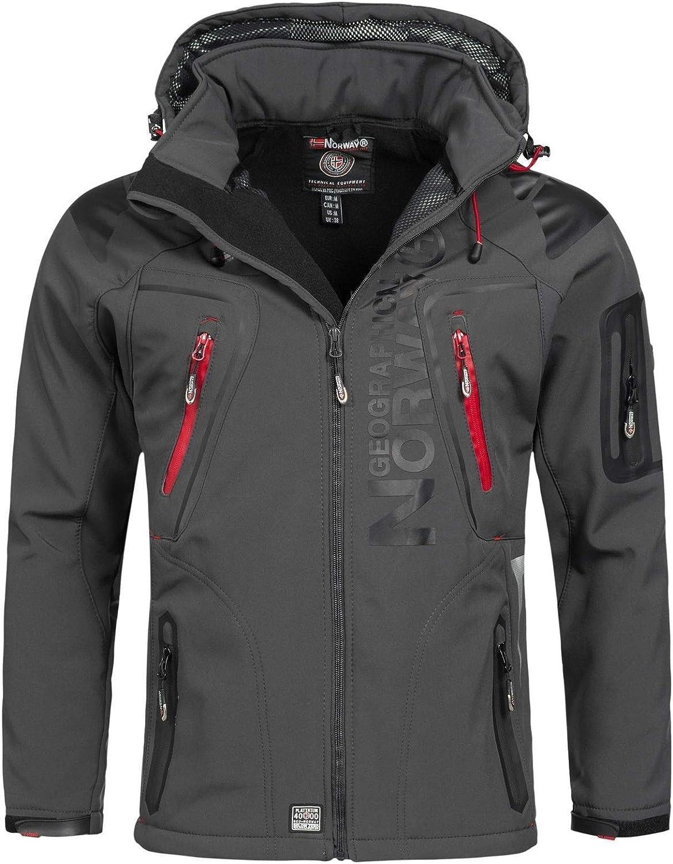 Geographical Norway - Chaqueta cortavientos para hombre, modelo: Techno, chaqueta de entretiempo con capucha, impermeable y funcional, anorak para ...