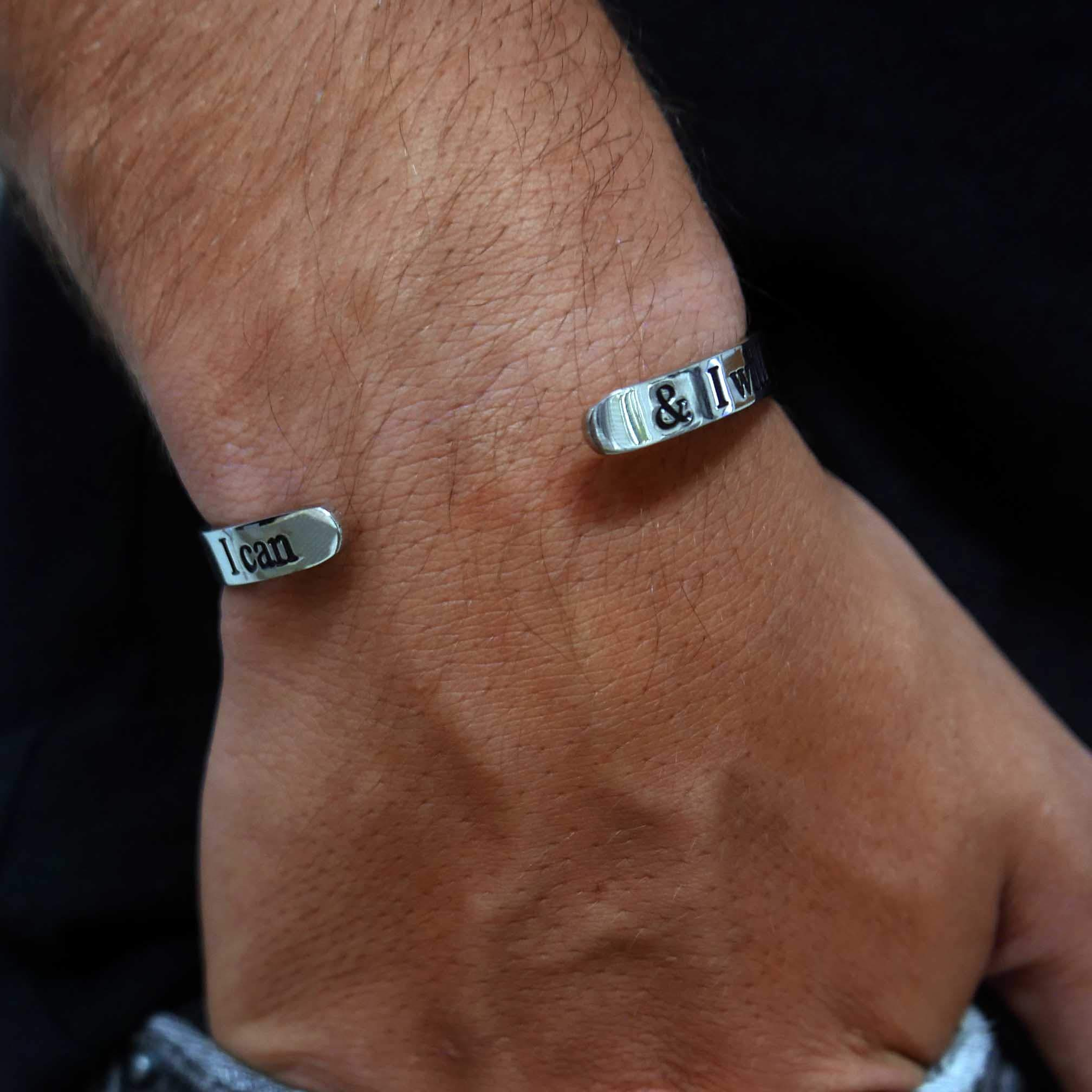 Silver Engraved Bracelet for Him & Her - Adjustable Open Bangle - Inspiration Cuff Jewelry (6.5, I Can & I Will)