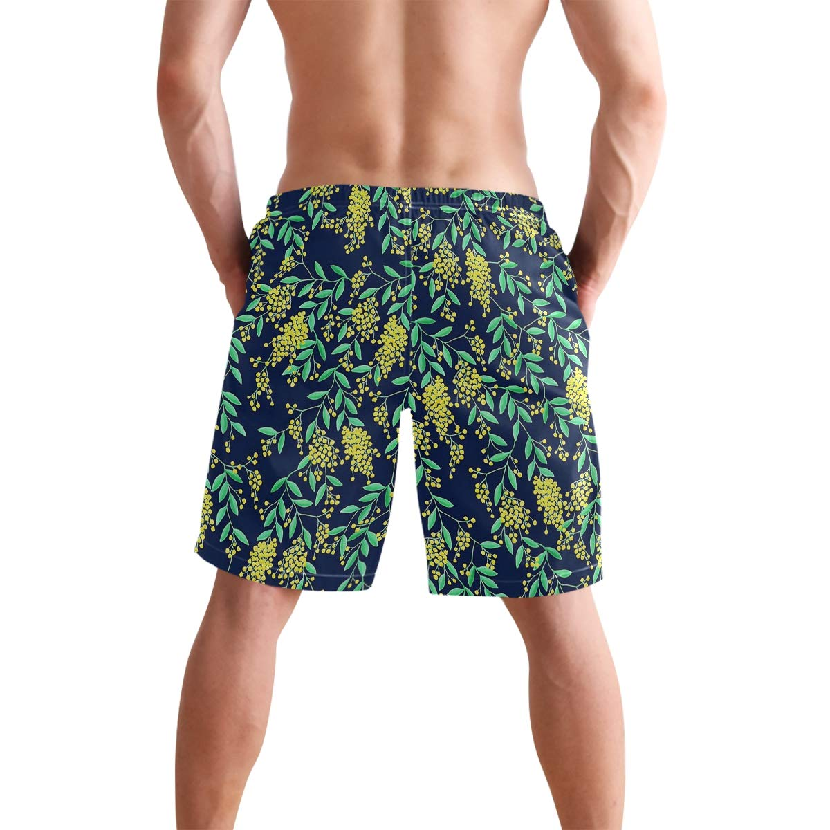 Golden Wattle Navy Mens Quick Dry Swim Trunks Swimming Shorts with Mesh Liner