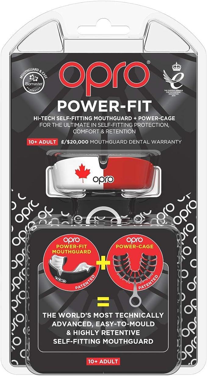 Opro Power-Fit la Crosse | 18 Mois de Garantie Dentaire 10 Ans et Plus la Boxe et dautres Sports de Contact et de Combat Le Hockey prot/ège-Dents pour Adultes pour Le Rugby