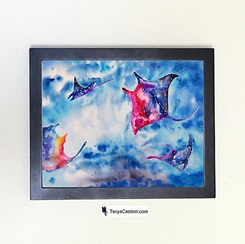 Rainbow Manta Ray Galaxy Spirit Animal Art Print from Watercolor Painting