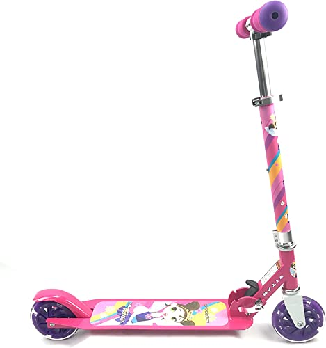 TITAN Flower Princess Folding Aluminum Girls Folding Kick Scooter with LED Light Up Wheels Age 5 , Pink