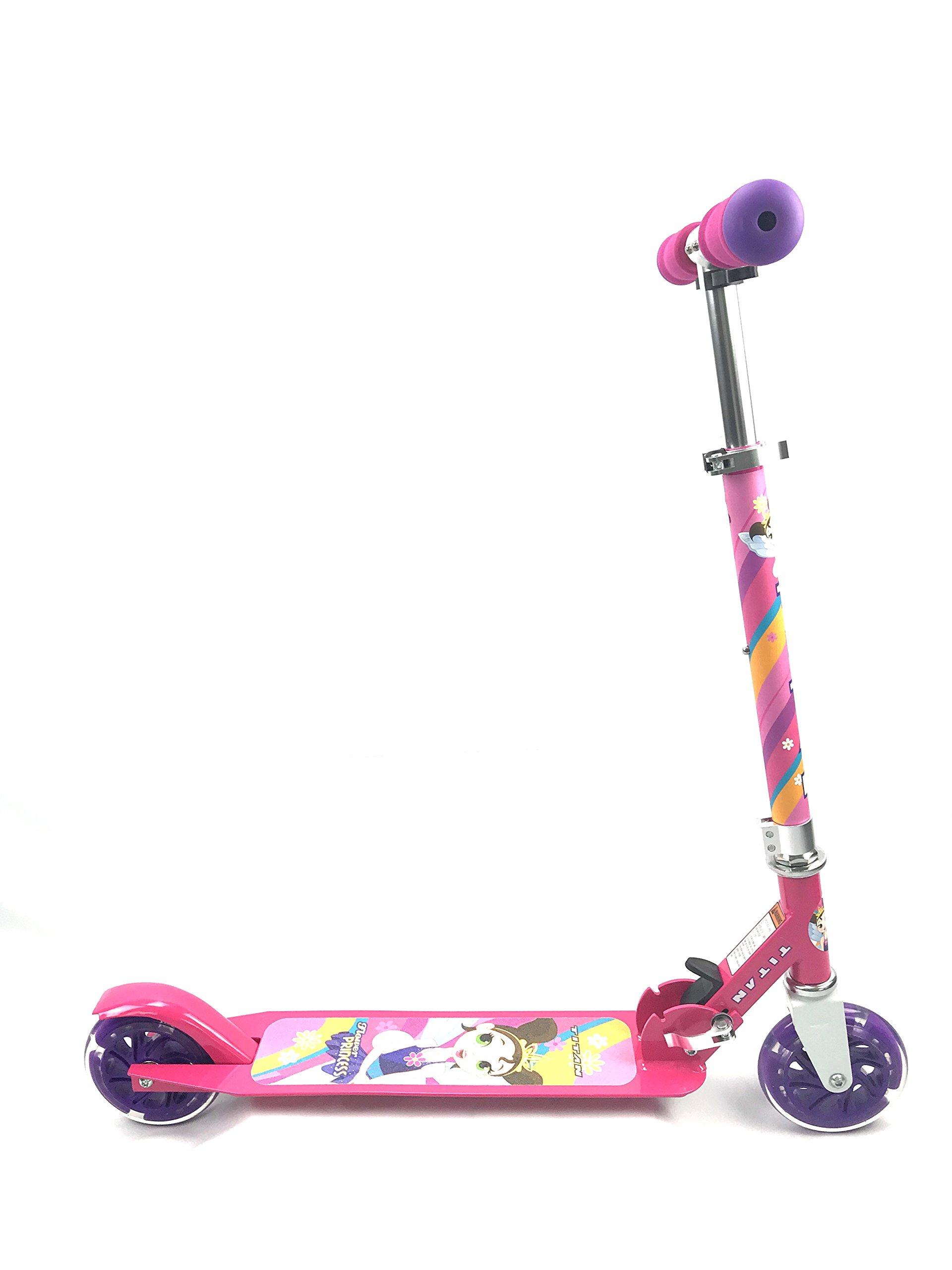 Titan Flower Princess Folding Aluminum Girls Folding Kick Scooter LED Light up Wheels (Age 5+), Pink