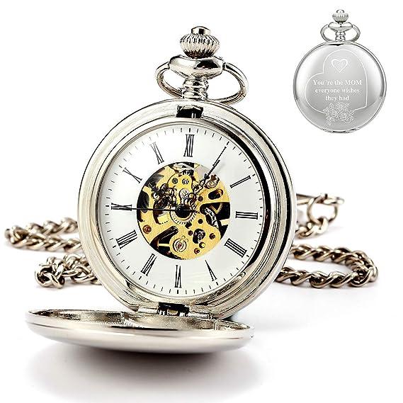 ManChDa - Reloj de Bolsillo Personalizable con Grabado ...