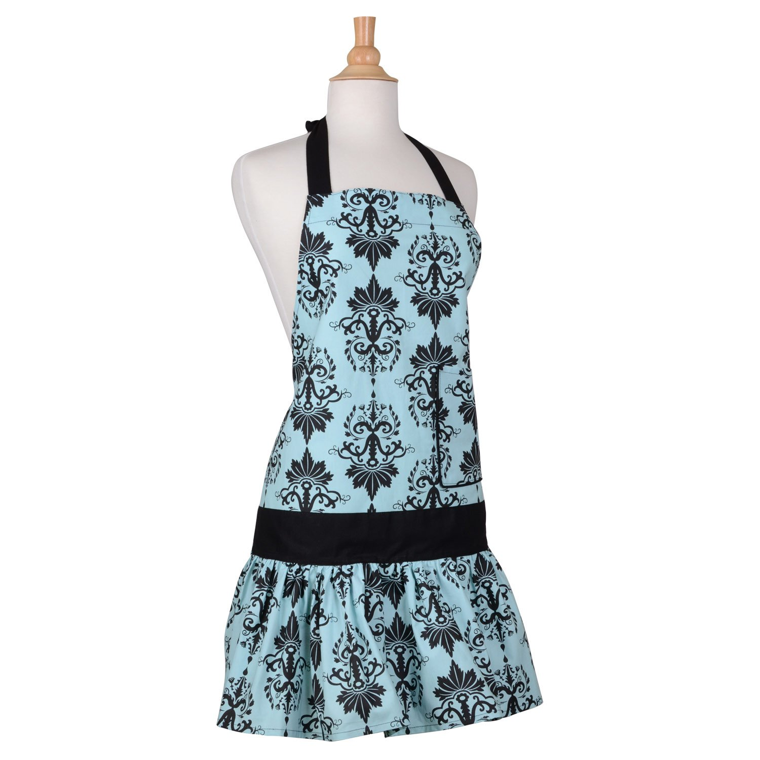 Amazon.com: Flirty Aprons Women\'s Sadie Aqua Damask Apron: Home ...