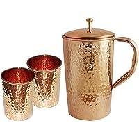 Jarra de cobre puro con 2 vasos