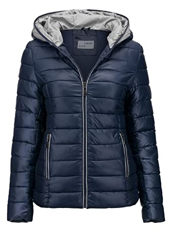S West Damen Jacke Steppjacke ÜBERGANGSJACKE Kapuze GESTEPPT Winterjacke  Skijacke, Farbe Dunkelblau, c7adb498af