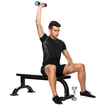 Ancheer Heavy Duty Banco de musculación plano de pesas para gimnasio en casa: Amazon.es: Deportes y aire libre