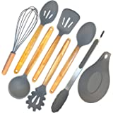 ELLO HOME Silicone Cooking Utensils Set | 8 Piece Kitchen Utensil Set | Natural Acacia Wooden Silicone Kitchen Utensils Set | Silicone Utensil Set for Nonstick Pots Pans Nonstick Cookware Tongs Spoon
