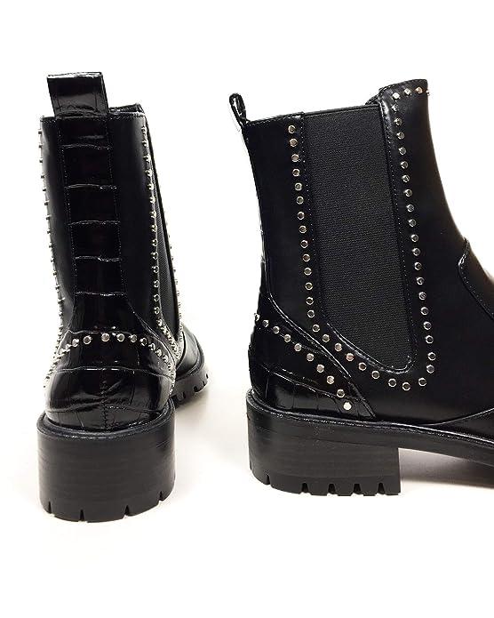ee09fe28ccebf Amazon.com: Zara Women Flat Ankle Boots with Studs 7172/301 (42 EU ...