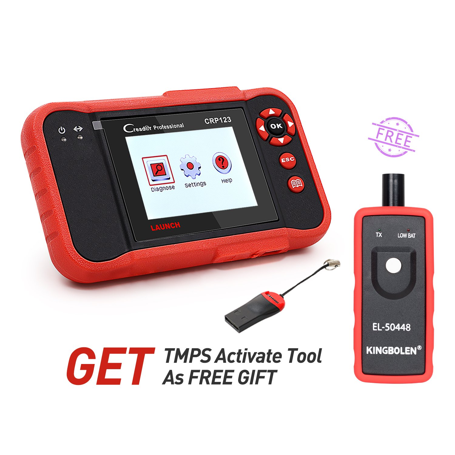 Launch X431 Creader CRP123 Diagnostic Tool OBD2 Auto Code Reader Support four basic systems(ENG/TCM/ABS/SRS) EOBD Scanner with EL-50448 as free gift