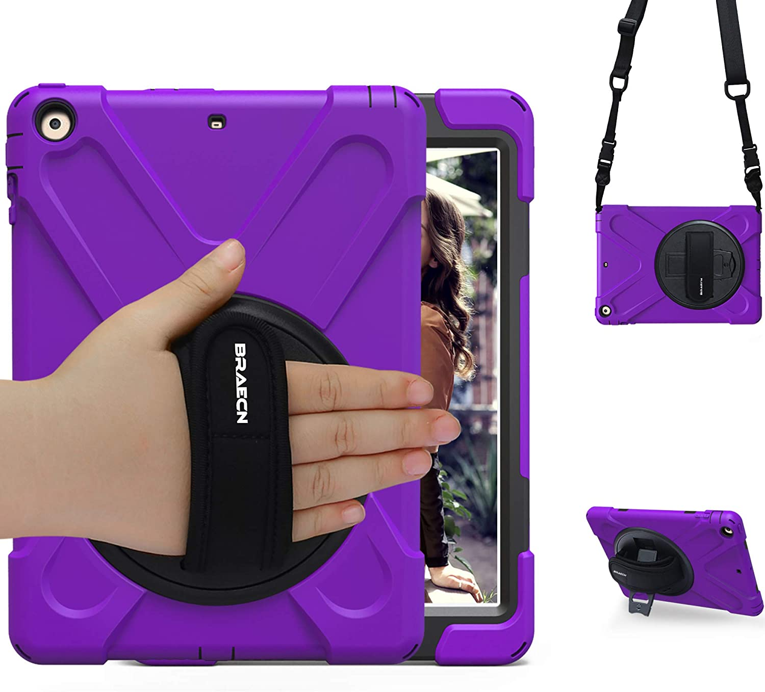 BRAECN iPad Air 1 Case [Hybrid Shockproof Case] Rugged Triple-Layer Shock-Resistant Drop Proof Defender Case Cover with Kickstand/Hand Strap/Adjustable Shoulder Strap for iPad Air 9.7 Cover(Purple)