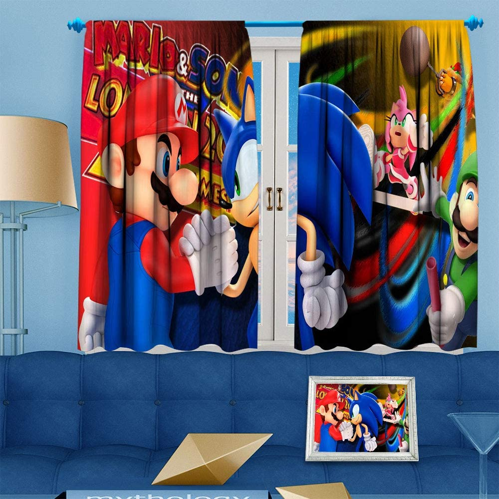 Decor Curtains Mario Curtains Super Smash Bros Energy Efficiency Curtains For Bedroom Living Room 42x45 Inch Kids Room Decor Window Treatments