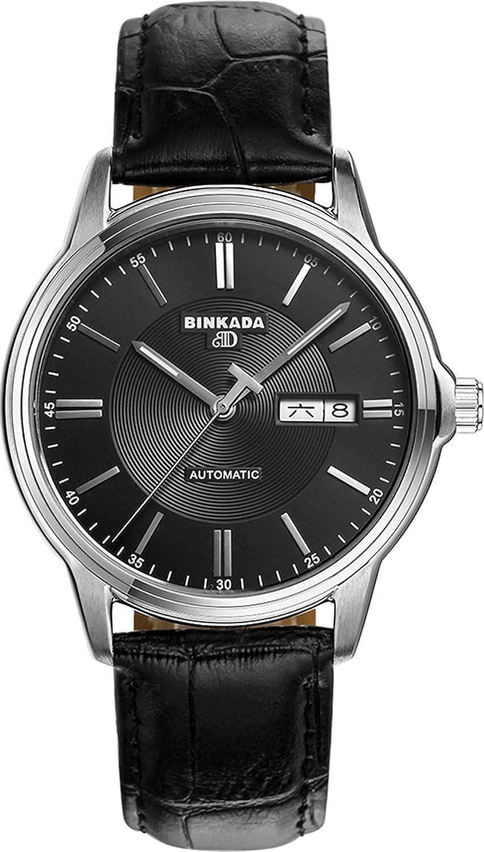 BINKADA 3ポインタ自動機械ムーンフェーズビジネス日付表示メンズウォッチfor Mens Black Band-Black Dial B015EBTQ5OBlack Band-Black Dial
