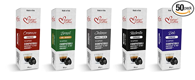 Espresso Capsules Compatible With Starbucks Verismo Cbtl Caffitaly K Fee Systems Italian Coffee Pods Taste Kit 5 Blends 50 Pods Tot Amazon Com Grocery Gourmet Food