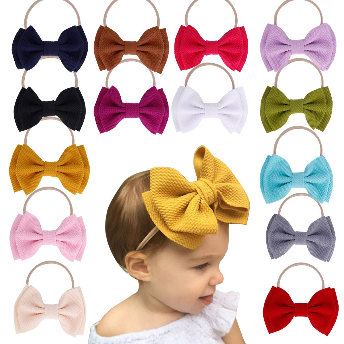Baby Girl Nylon Headbands Newborn Infant Toddler Hairbands and Bows Child Hair Accessories (ZM15-14pcs) by Mookiraer