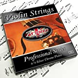 Adagio Pro - Violin Strings - 4/4 Classic Silver Violin String Set / Pack With Ball Ends For Concert Tuning