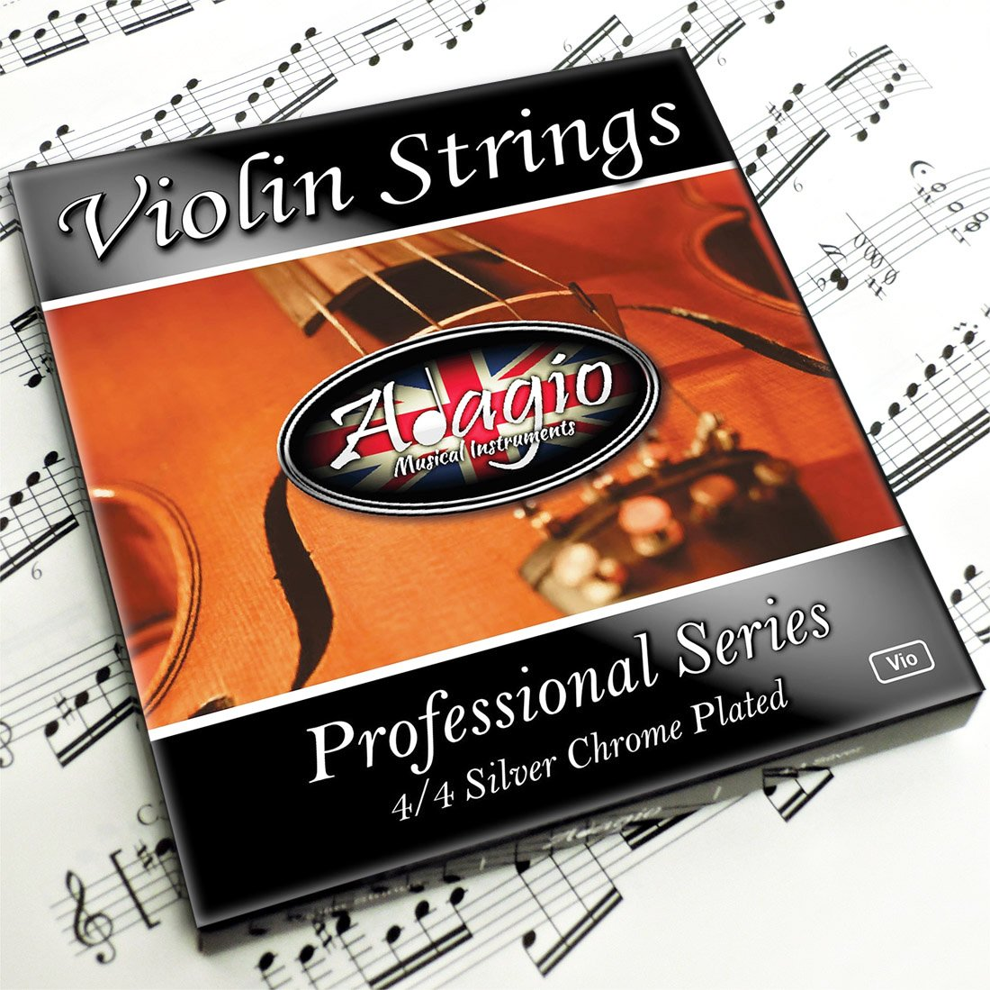 Adagio Pro - Las cuerdas de un violín - 4/4 Classic Silver String Set de violín con rótulas para el concierto Tuning product image