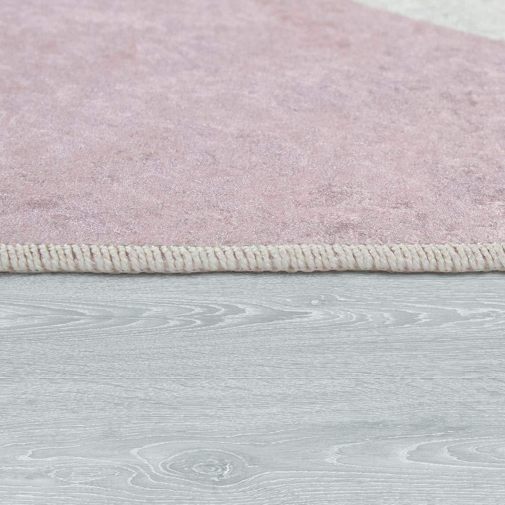 Dimension:80x150 cm Paco Home Tapis Enfant Chambre Enfant Filles Lavable Mignon /Étoile Inscription Rose Blanc