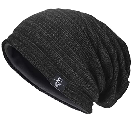 772800855f0 VECRY Mens Slouchy Knit Oversized Beanie Skull Caps Hat (Black) at ...
