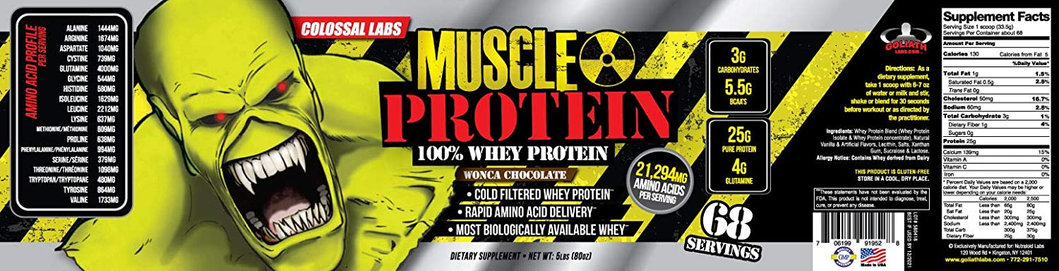 Colossal Labs Monster Muscle Protein 100 Cold Filtered Whey Protein Rapid Amino Acid Delivery Natural Chocolate for a Rich Flavor