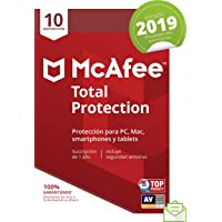 McAfee Total Protection 2019 - Antivirus, PC/Mac/Android/Smartphones, 10 Dispositivos, Suscripción de 1 año