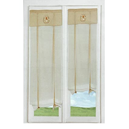 Coppia tendine Kristin a vetro per balcone regolabili 60x230 cm N391 ...