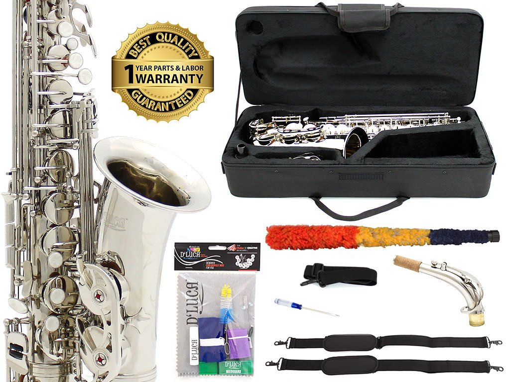 D'Luca 350N 350 Series Plated Eb Alto Saxophone with F# key, Professional Case, Cleaning Kit, Nickel