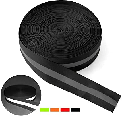 Reemky High Visibility Reflective Tape Strip Width 1.96 Fabric Reflective Safety Tape Sew-on Warning Safety Trim (Lengths Optional)