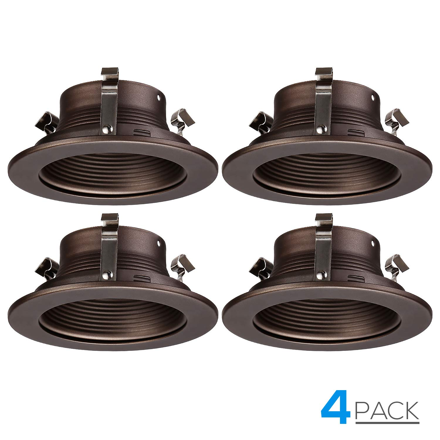 "TORCHSTAR 4 Inches Recessed Can Light Trim, Oil Rubbed Bronze Metal Step Baffle Trim, for PAR20, R20 Light Bulbs, for 4"" Recessed Cans, Halo/Juno Remodel Recessed Housing, Pack of 4"