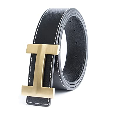 a4223db7ee489 Solid Brass Luxury H Buckle Brand Designer Belts Men Women Punk Genuine  Real Leather Male Strap at Amazon Men s Clothing store