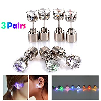 9449504aba584 LED Earrings Color Changing Mothers Day Gifts from Daughter/Son, AYAMAYA 3  Pairs Changing Color Christmas Light up LED Earrings Studs Flashing ...