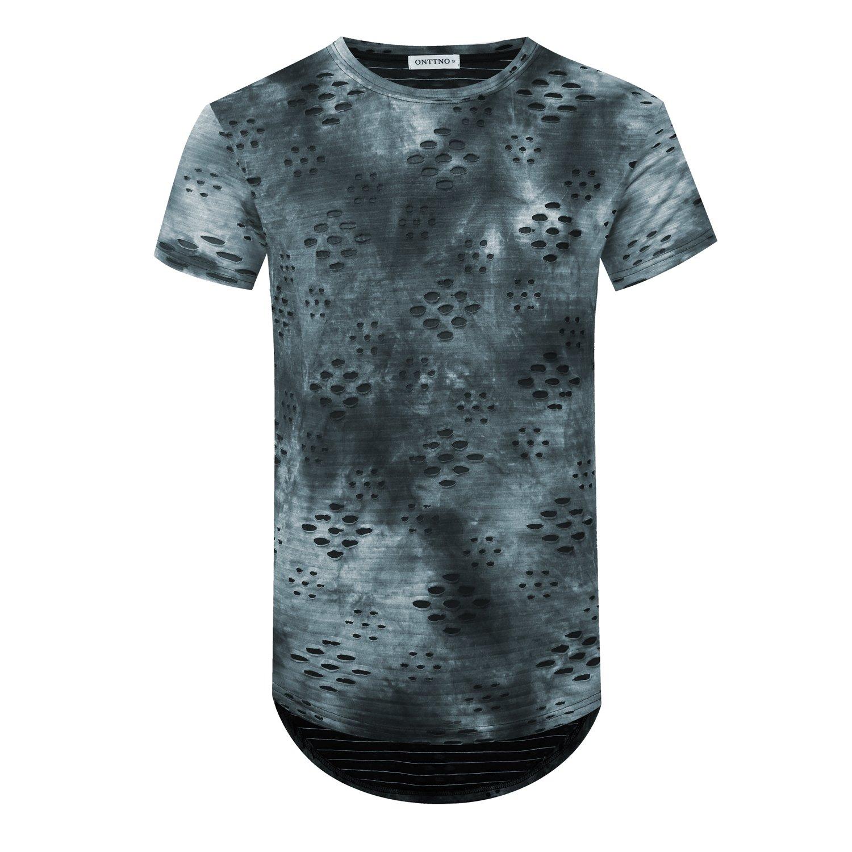 ONTTNO Mens T Shirts Short Sleeve Hipster Hip Hop Basic Curved Hem Ripped Tops with Holes (Large, LKBlue)