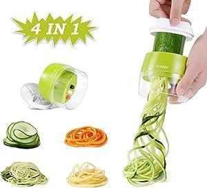 Handheld Spiralizer Vegetable Slicer, Adoric 4 in 1 Zucchini Spaghetti Maker Heavy Duty, Veggie Spiral Cutter Great for Vegetable Fruit Carrots Zucchini Cucumber