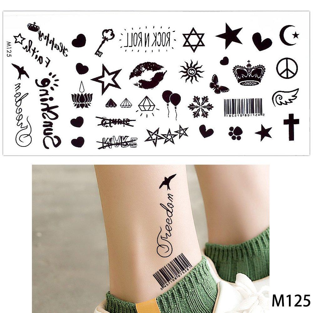 15 hojas Inglés Carta Fake negro temporal Tattoo Sticker patrón ...