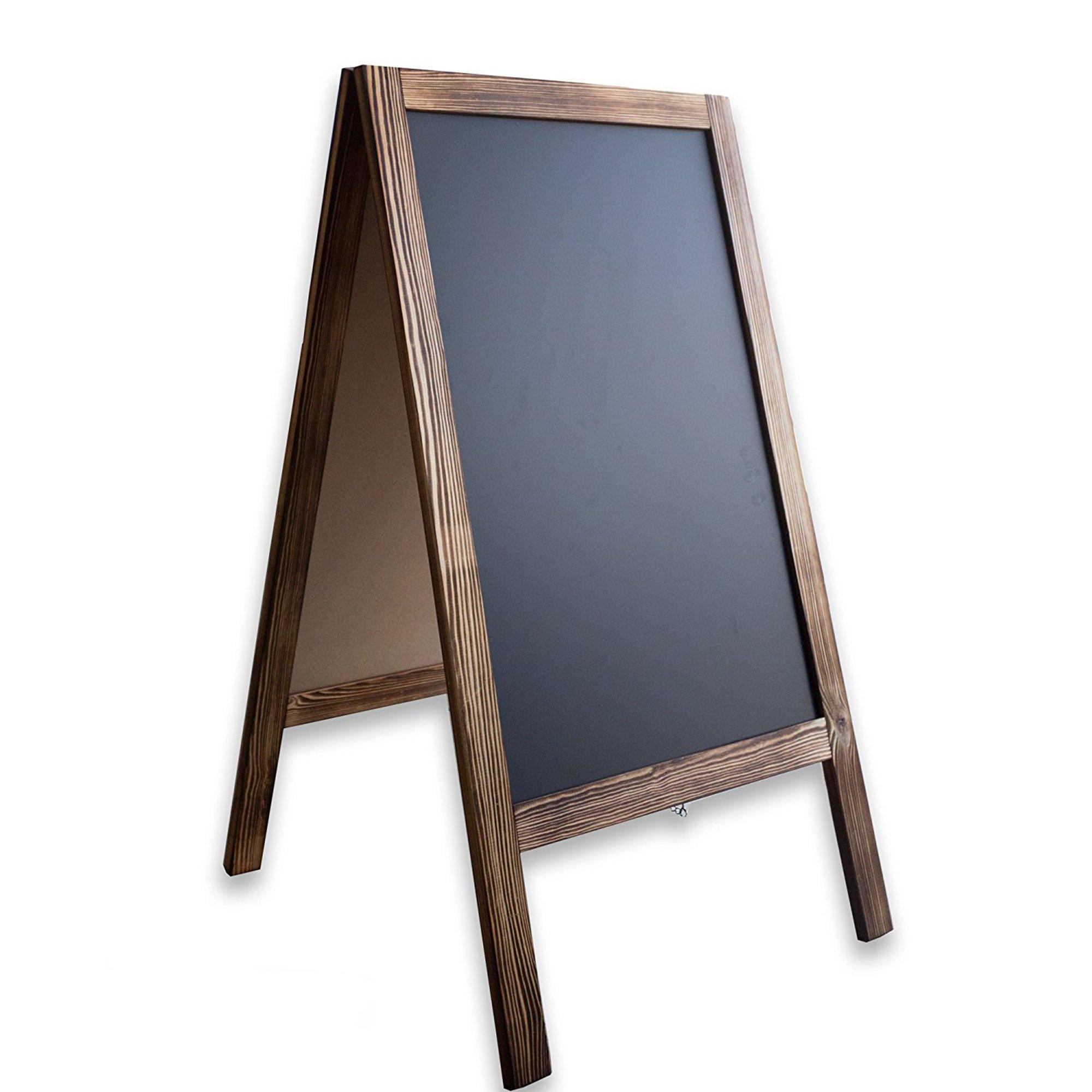 Wooden A-Frame Sign with Eraser & Chalk - 40'' x 20'' Magnetic Sidewalk Chalkboard – Sturdy Freestanding Sandwich Board Menu Display for Restaurant, Business or Wedding by Ilyapa (Image #8)