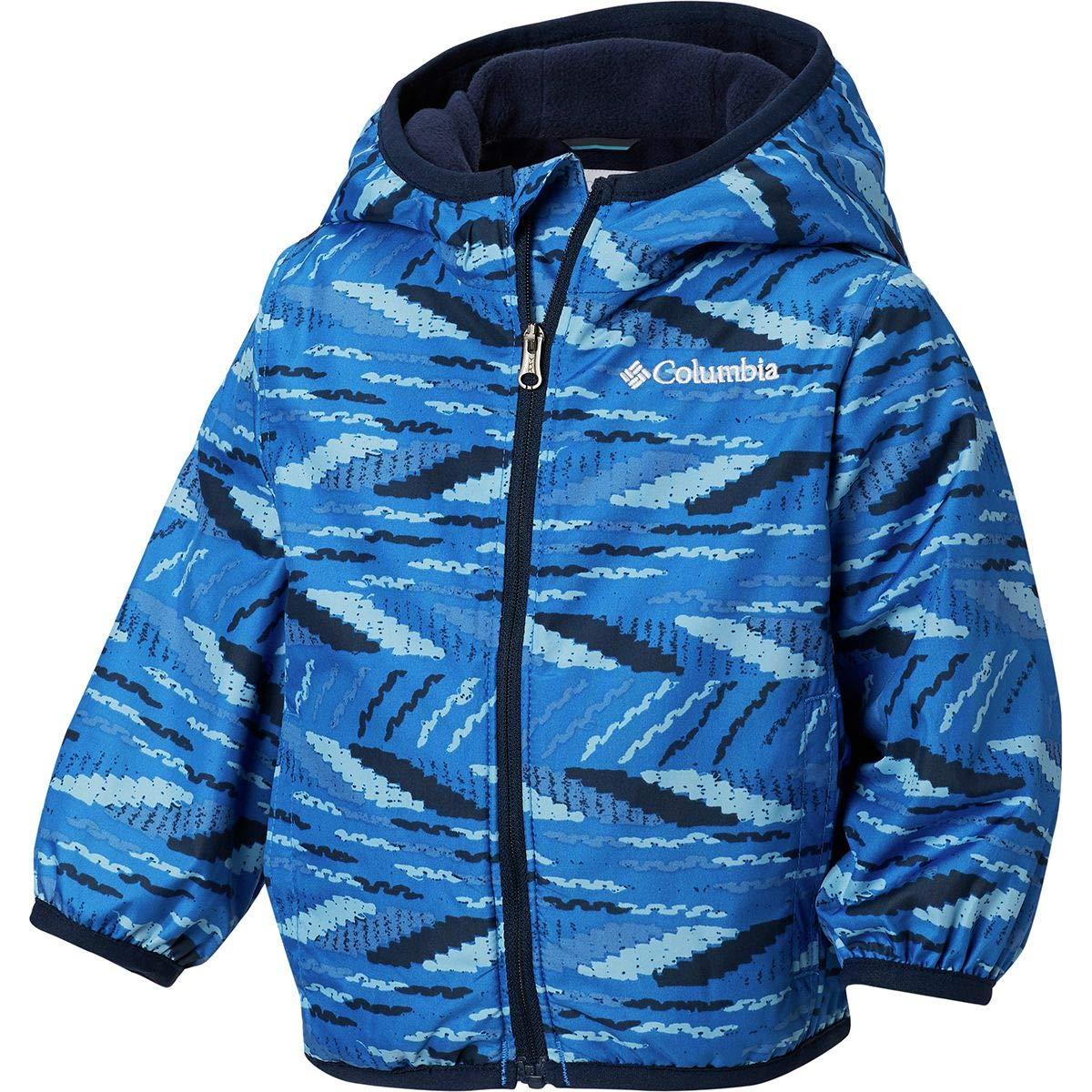 Columbia Kids Baby Boy's Mini Pixel Grabber¿ II Wind Jacket (Infant/Toddler) Super Blue Beach Stripe 6-12 Months