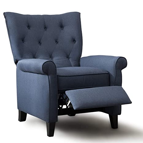 Surprising Anj Accent Recliner Chair Easy To Push Mechanism Single Chair With Roll Arm Elegant Dark Blue Machost Co Dining Chair Design Ideas Machostcouk
