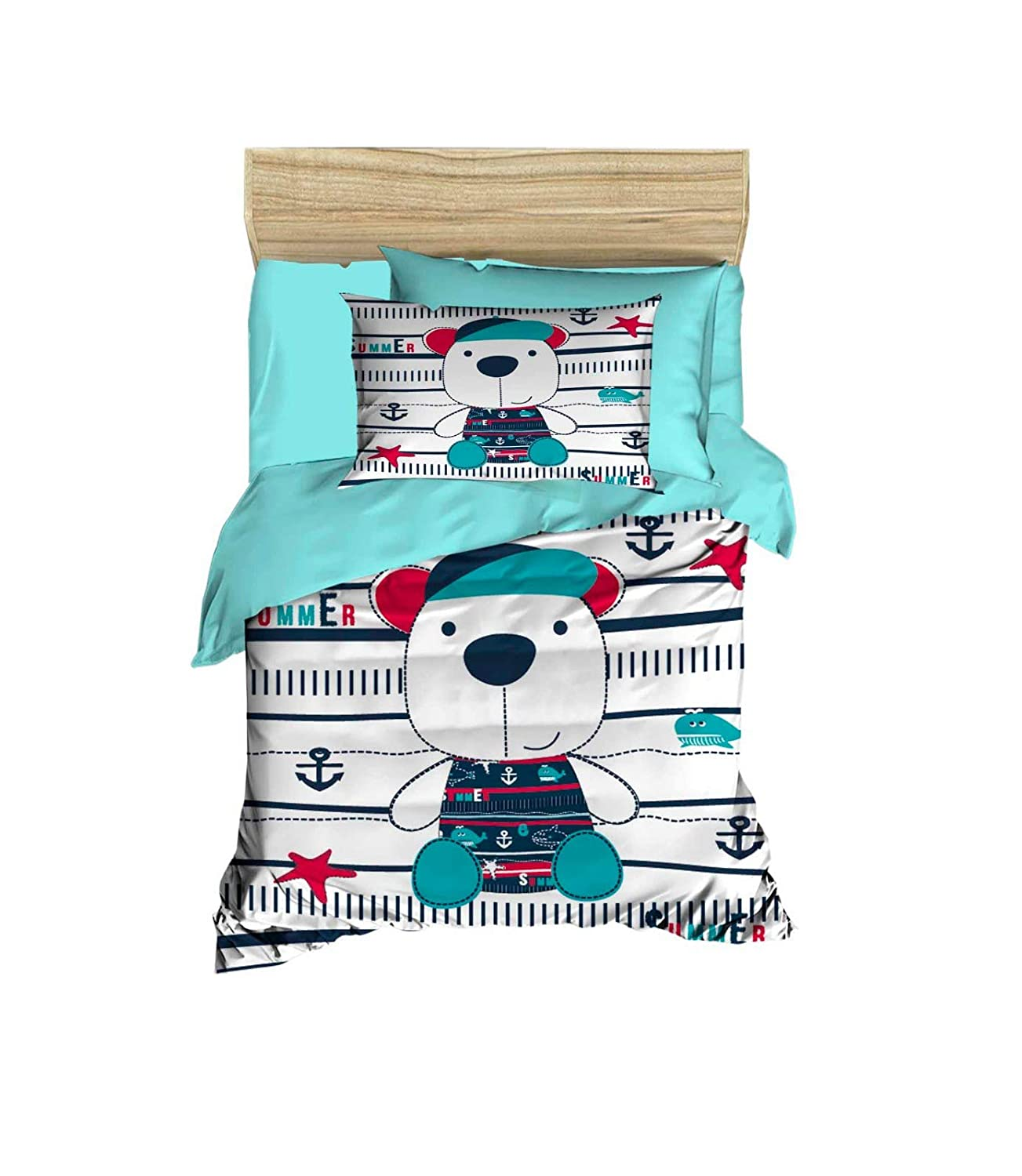 100% Cotton Nautical Baby Bedding Teddy Bear and Anchor Themed Nursery Baby Bett Set, Toddlers Crib Bedding for Baby Boys and Girls, Duvet Cover Satz with Comforter, 5 Pieces