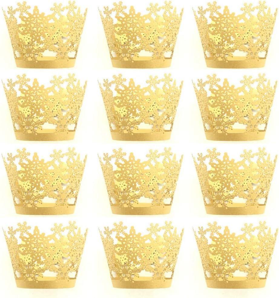 Gold 12er Cupcake F/örmchen Papier Kuchen Cupcake Liner Fall Wrapper Muffin Baking Cup f/ür Party Hochzeit Weihnachten