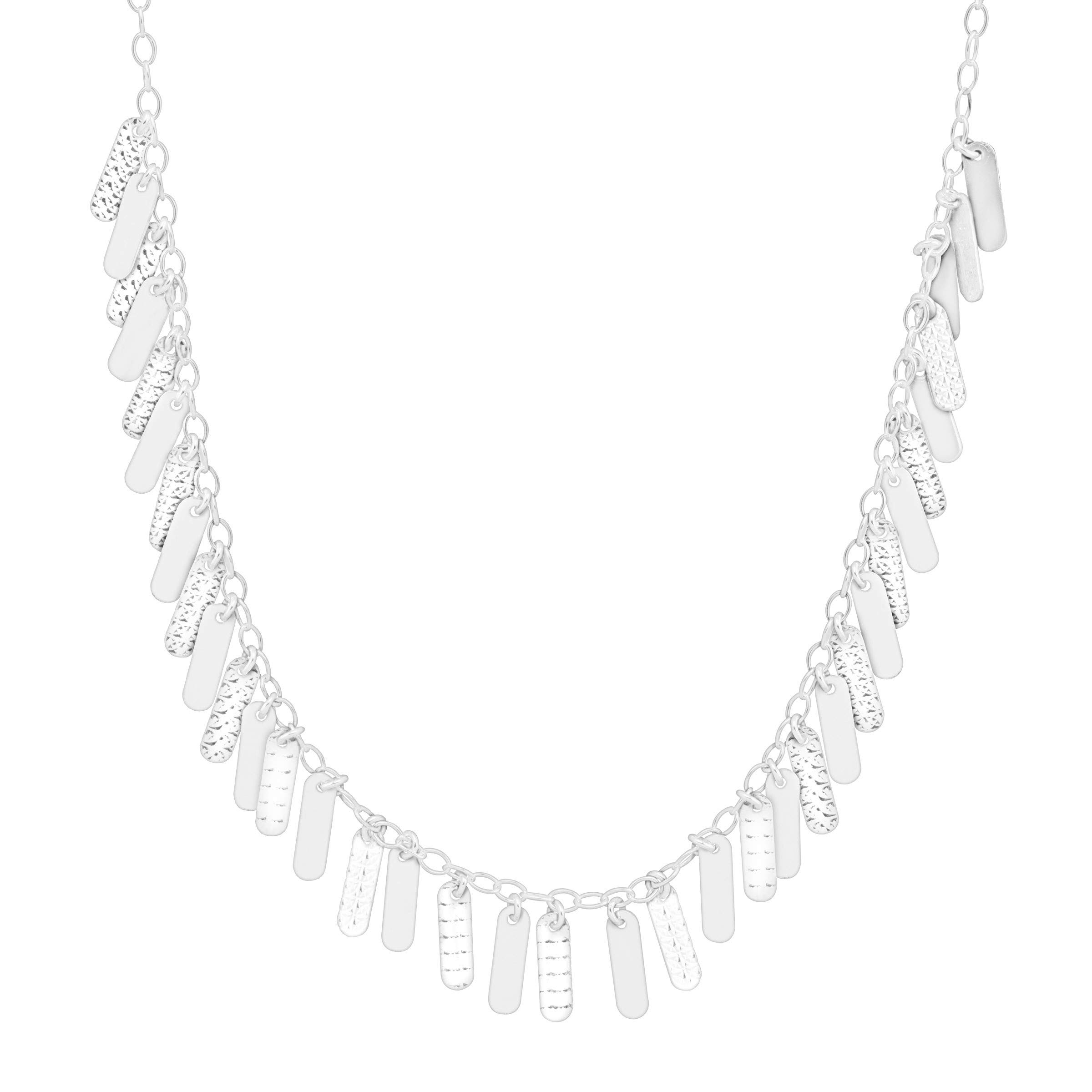 Silpada 'Missing Link' Textured Oval Charm Necklace in Sterling Silver