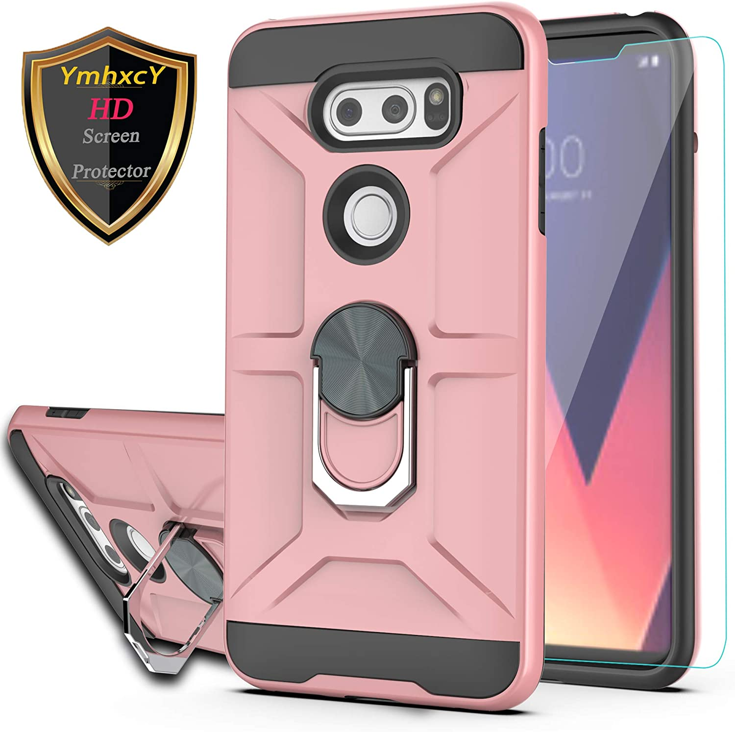 LG V35 ThinQ Case LG V30 Case LG V30 Plus/ V30S ThinQ/ V35 Case with HD Screen Protector YmhxcY 360 Degree Rotating Ring Kickstand Holder Dual Layers of Shockproof Phone Case for LG V30-ZS Rose Gold