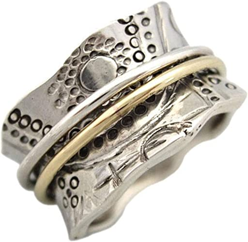 Energy Stone 925 Sterling Silver Balance /& Beauty Meditation Spinner Ring Brass /& Copper Spinners Leaf Pattern Base Ring Style USA88