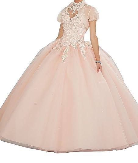Womens High Neck Lace Quinceanera Dresses with jacket Bodice Applique vestido festa 15 anos 0 Blush