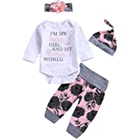 8a6a641eab5 Honykids 3PCS Newborn Baby Girl Romper Jumpsuit Bodysuit +Pants  Shorts+Headband Outfit Set