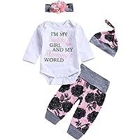 25ad6d66e Honykids 3PCS Newborn Baby Girl Romper Jumpsuit Bodysuit +Pants  Shorts+Headband Outfit Set